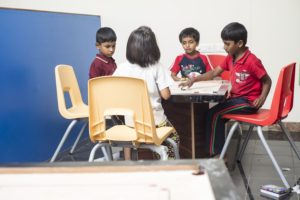 Boarding School Students playing carrom board